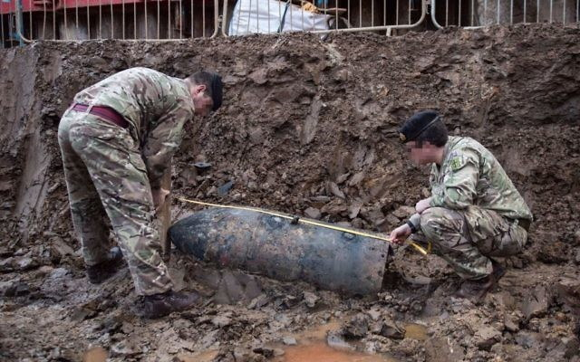 An unexploded bomb
