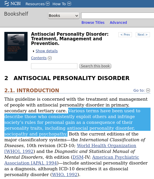 Antisocial Personality Disorder: Treatment, Management and Prevention.