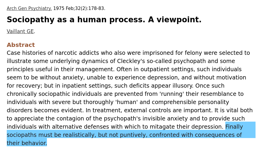 Sociopathy as a human process. A viewpoint.