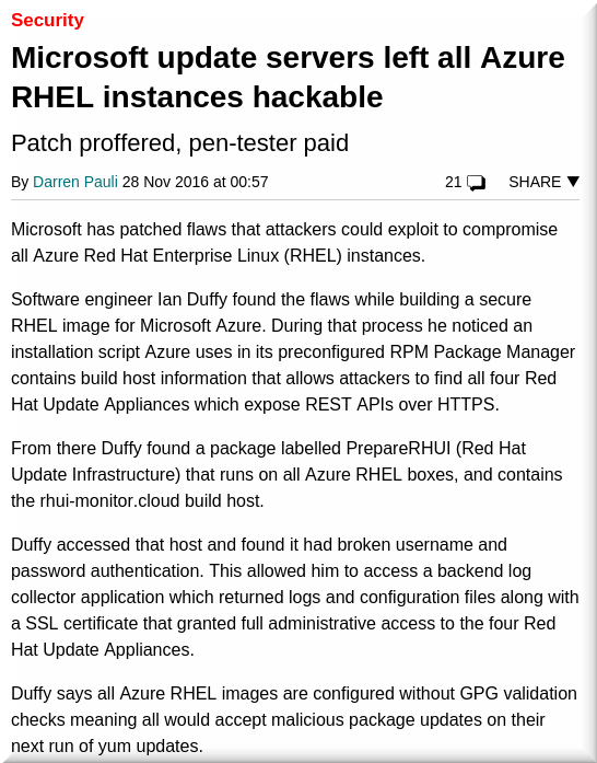Microsoft update servers left all Azure RHEL instances hackable