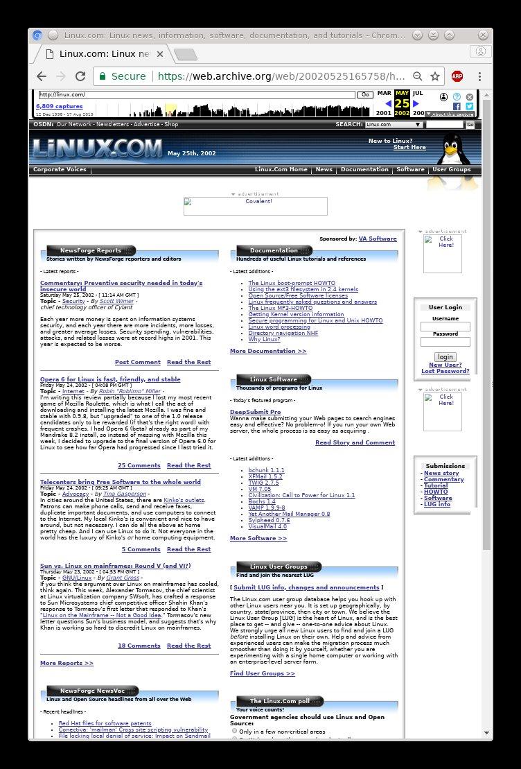 Linux.com in 2002