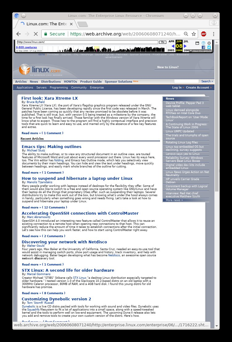 Linux.com in 2006