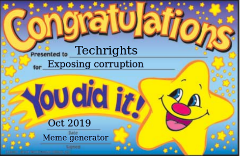 Techrights; Exposing corruption; Oct 2019; Meme generator
