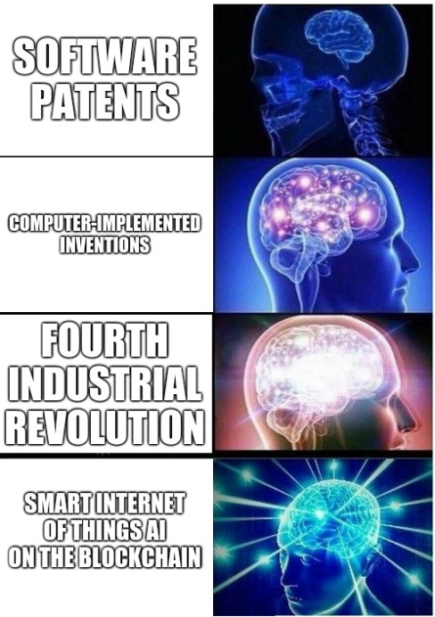 Software patents; Computer-implemented inventions; Fourth industrial revolution; Smart Internet of Things AI on the blockchain