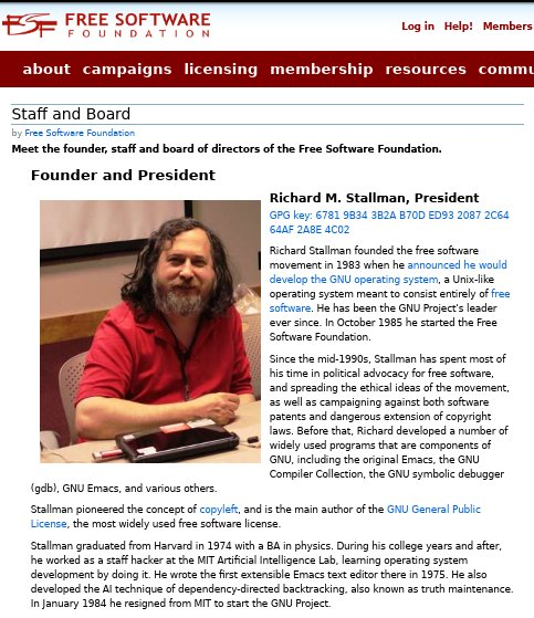 Richard Stallman in FSF site