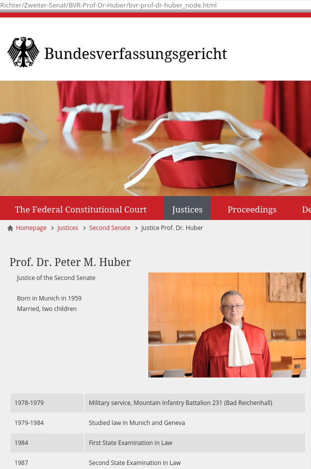 Justice Peter Huber of the German Federal Constitutional Court