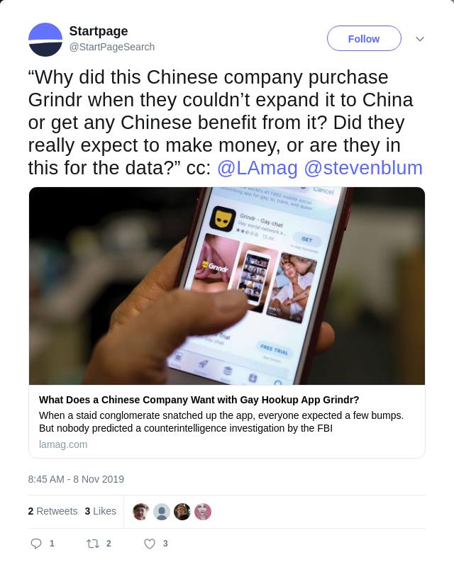 Startpage's tweet irony