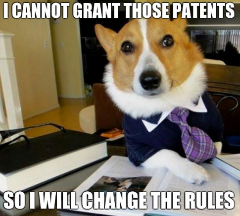I cannot grant those patents. So I will change the rules.