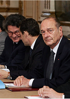 Sarkozy and Breton with Chirac
