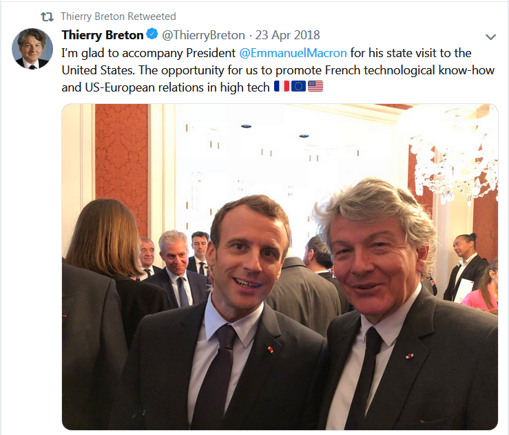 Breton tweet on Macron
