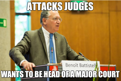 Attacks judges. Wants to be head of a major court.