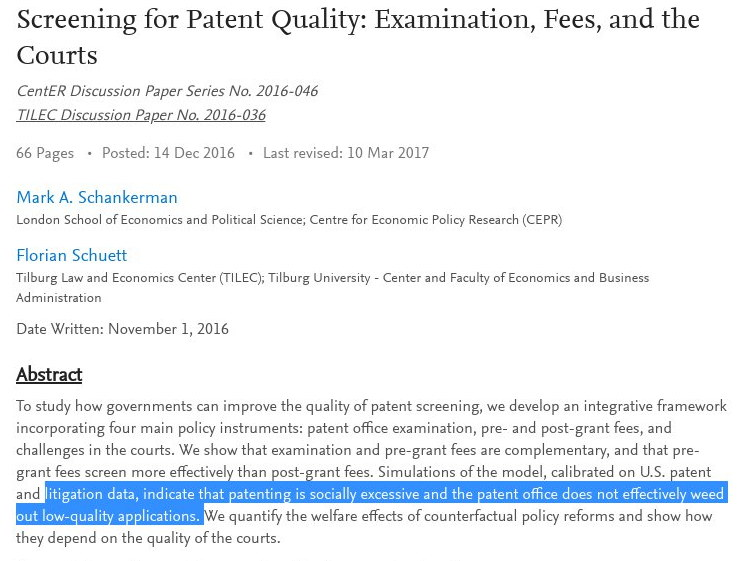 Patent quality paper
