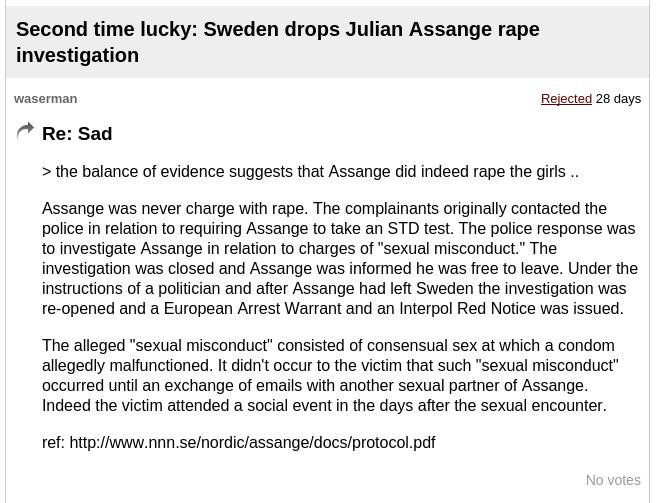 Rejected Assange