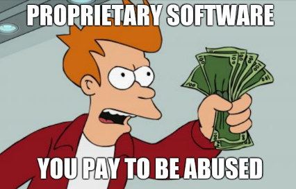 Proprietary Software. You pay to be abused.