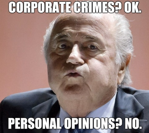 Corporate crimes? OK. Personal Opinions? No.
