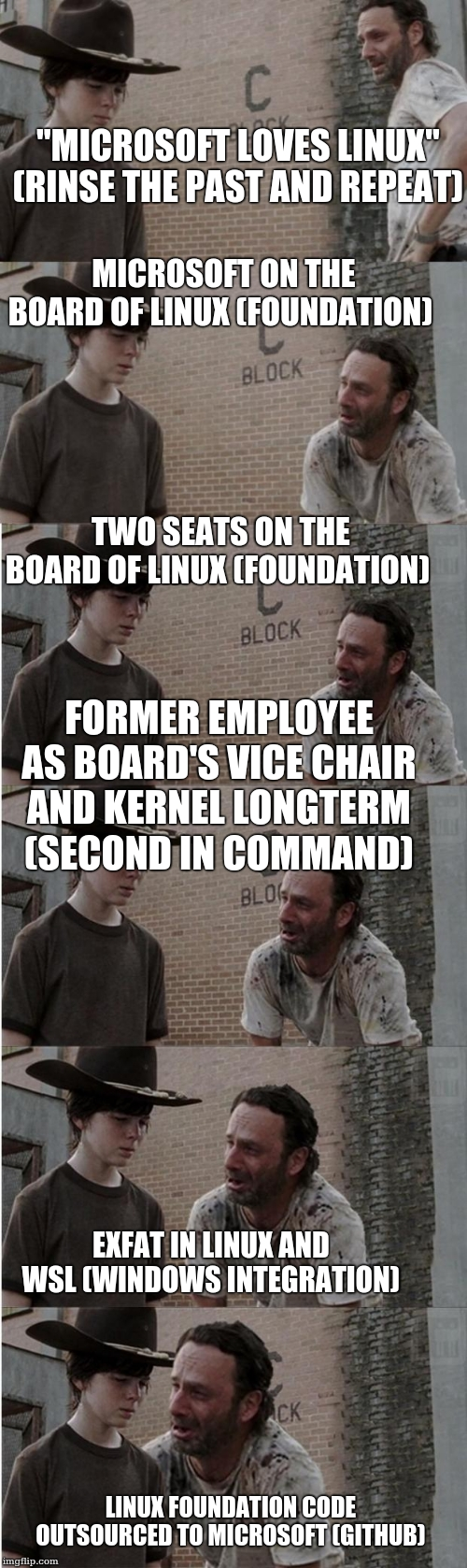 'Microsoft loves Linux' (rinse the past and repeat); Microsoft on the Board of Linux (Foundation); Two seats on the Board of Linux (Foundation); Former employee as Board's Vice Chair and kernel longterm (second in command); exFat in Linux and WSL (Windows integration); Linux Foundation code outsourced to Microsoft (GitHub)