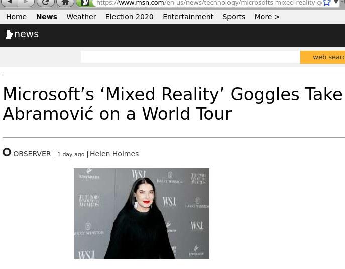 Marina Abramović in MSN (Microsoft) News
