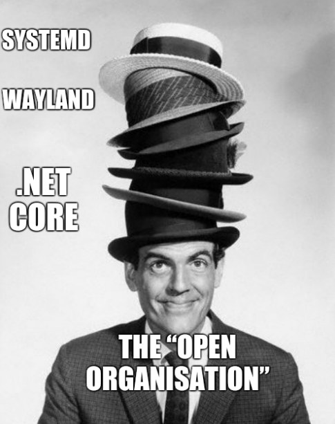 "Wayland, Systemd, .NET Core and The ""Open Organisation"""
