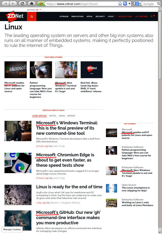 ZDNet's 'Linux' Section