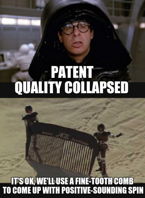 Patent quality collapsed. It's OK, we'll use a fine-tooth comb to come up with positive-sounding spin.