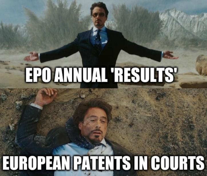 EPO annual 'results'; European Patents in courts