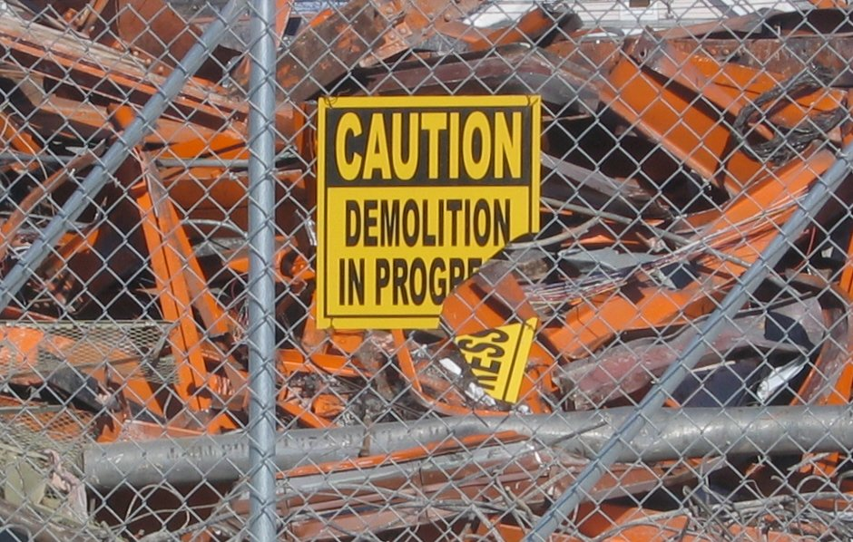 A demolition sign