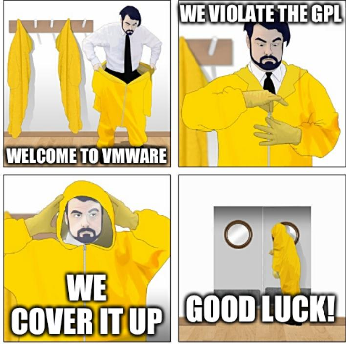 Welcome to VMWare. We violate the GPL. We cover it up. Good luck!