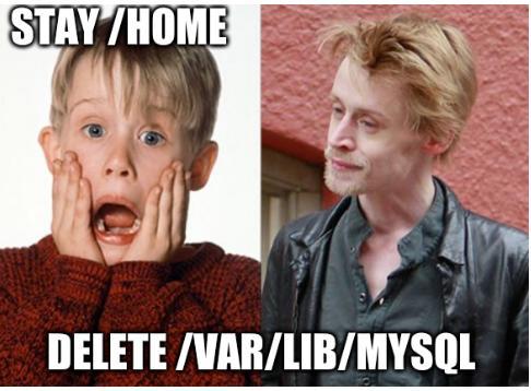 Stay /home. Delete /var/lib/mysql.