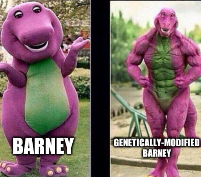 Barney strong; Genetically-modified Barney