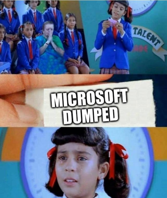 Girl cried after reading note: Microsoft dumped