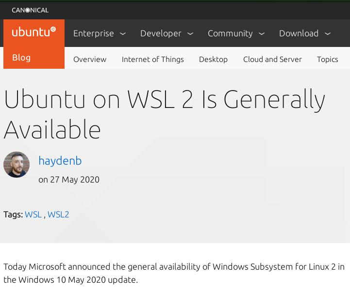 Canonical WSL2