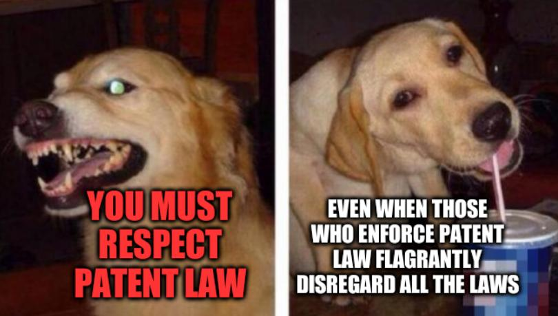 Dog drinks: You must respect patent law even when those who enforce patent law flagrantly disregard all the laws