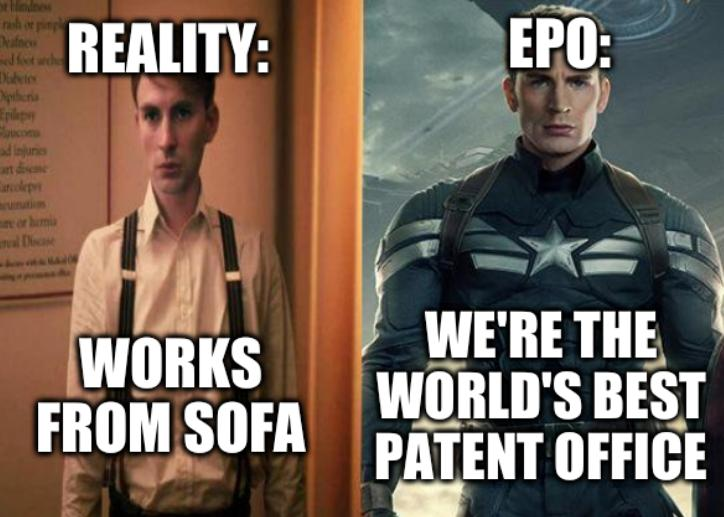 EPO: We're the world's best patent office. Reality: Works from sofa
