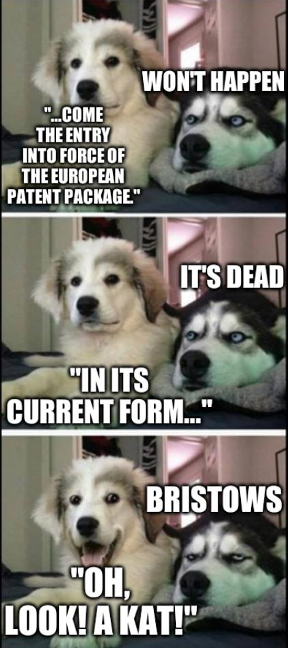 Two dogs bad joke: ...come the entry into force of the European Patent Package. won't happen. in its current form... It's dead. Oh, look! A kat!... Bristows