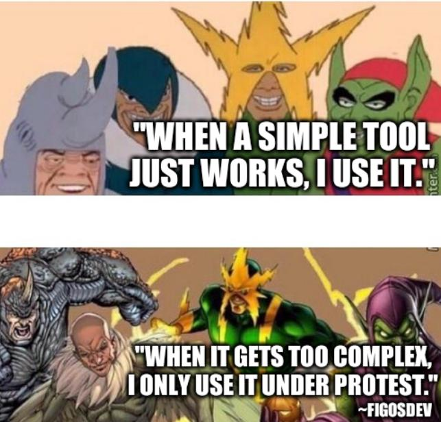 Me and the boys, before after: When a simple tool just works, I use it. When it gets too complex, I only use it under protest.