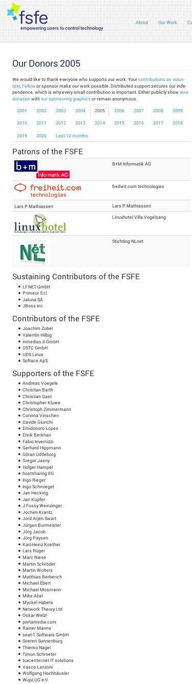 FSFE Donors in 2005
