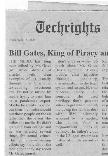 Bill Gates, King of Piracy and Serial Vandal, is a Terrible Public Face for Vaccination Efforts/COVID-19 Response Drive in paper