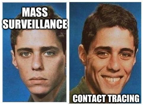 Mass surveillance and contact tracing