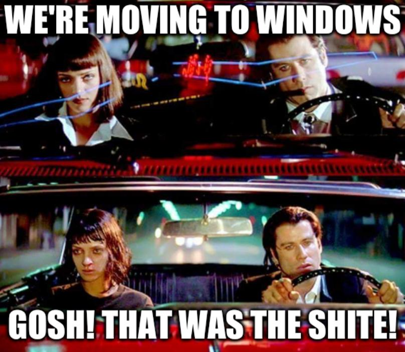 Travolta: We're moving to Windows; Gosh! That was the shite!