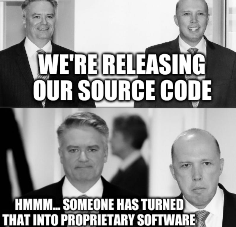 Dutton before and after: We're releasing our source code; hmmm... someone has turned that into proprietary software