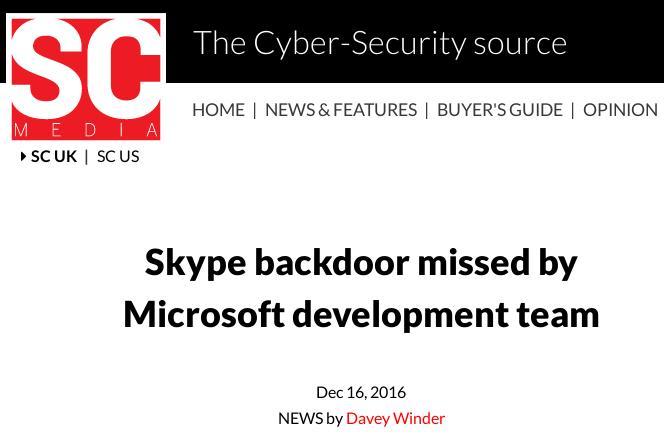 Skype backdoor
