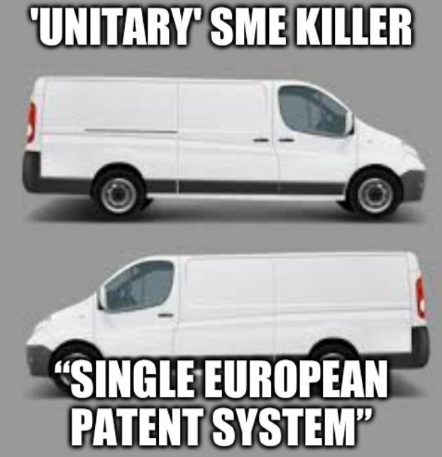 "Two vans: 'Unitary' SME killer ""single European patent system"""