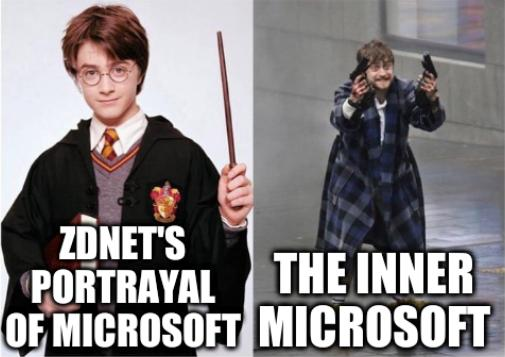 ZDNet's portrayal of Microsoft; ZDNet's portrayal of Microsoft