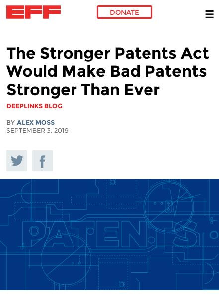 EFF on STRONGER Patents Act of 2019