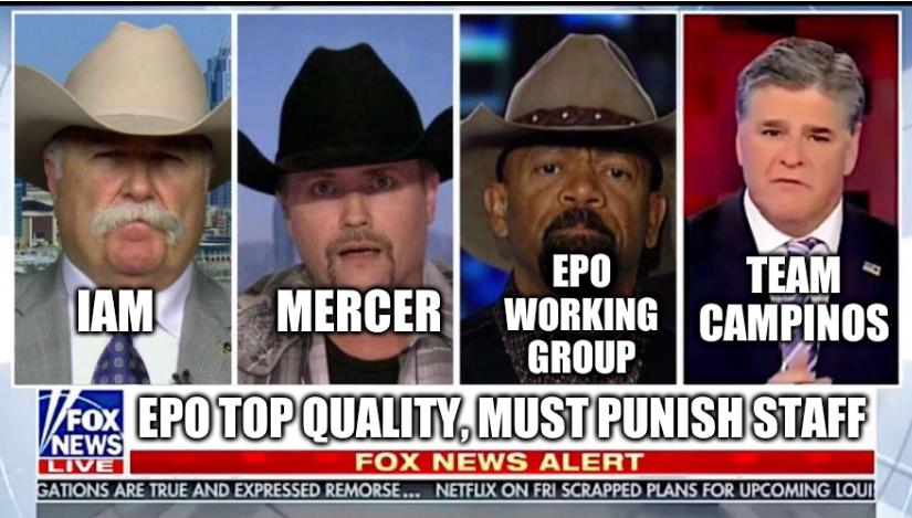 Fox News Panel: IAM, EPO Working Group, Team Campinos, Mercer; EPO top quality, must punish staff