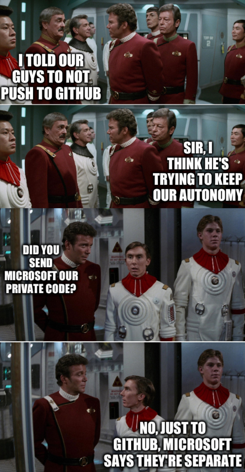Scotty Kirk, Kirk Preston: I told our guys to not push to Github; Sir, I think he's trying to keep our autonomy; Did you send Microsoft our private code? No, just to Github, Microsoft says they're separate