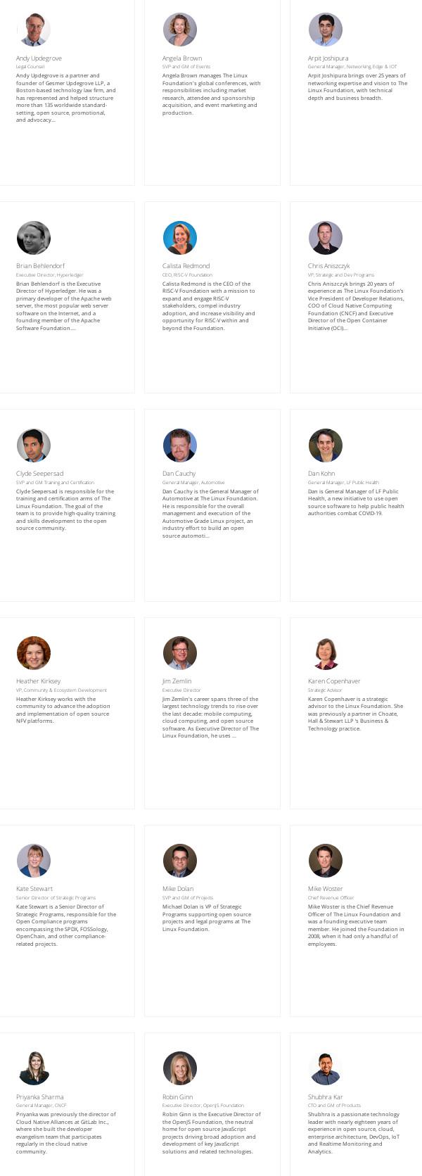 Linux Foundation leadership team