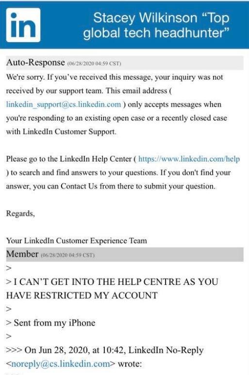 LinkedIn censorship message