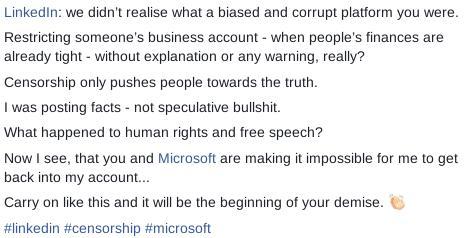 LinkedIn censorship