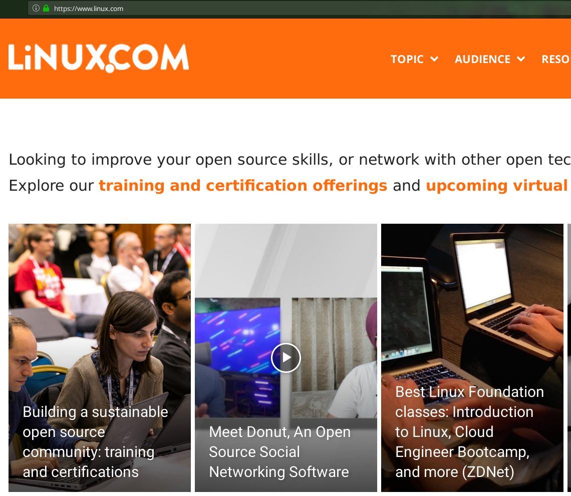 Linux.com front page